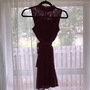 Adorable new maroon dress with lace top